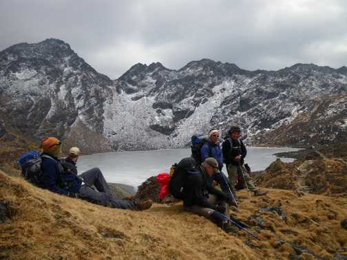 2/4 group at Panch Polchari Lakes - frozen , a holy place