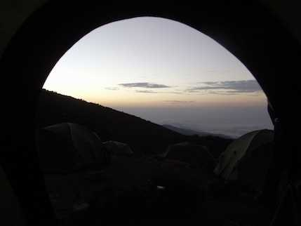 View from tent at sunrise