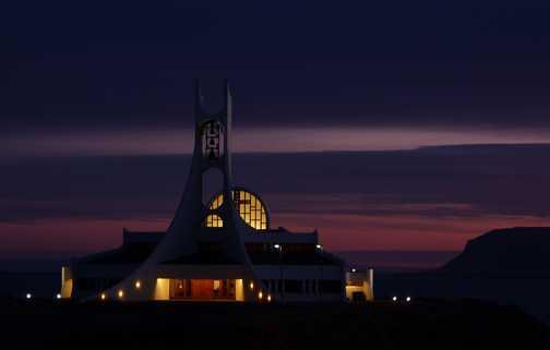 Stykkisholmur Church at dusk