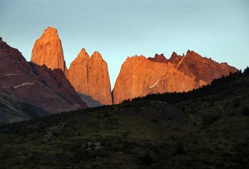 Dawn sun on the Torres del Paine