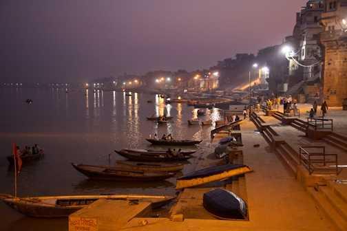 Evening prayer on the River Ganges.