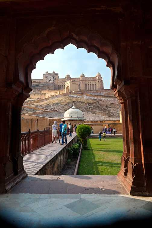 View towards Amber Fort, located high on the hillside overlooking Maota Lake near Jaipur