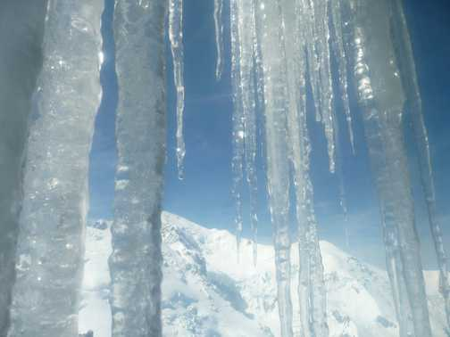 Icicles shielding Mont Blanc