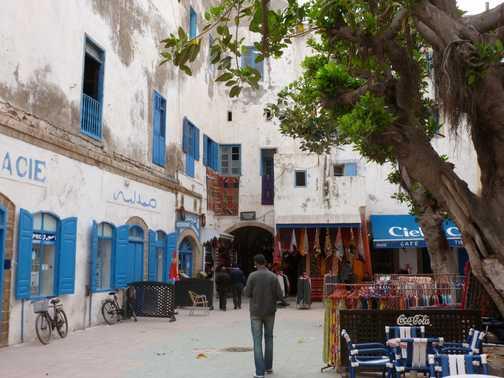 A quiet square in Essaouira.