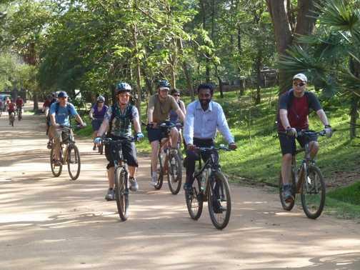 cycling through ruined city of Polonnaruwa