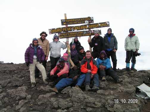 The group of us at Uhuru Peak