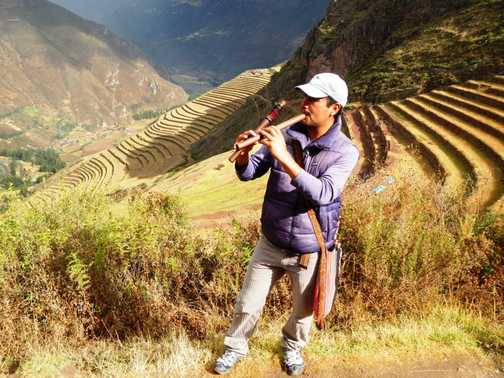 The piper calls the tune at the Inca ruins near Pisac in the Sacred Valley.