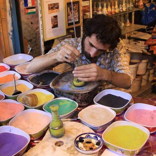 Making sand bottles, Amman
