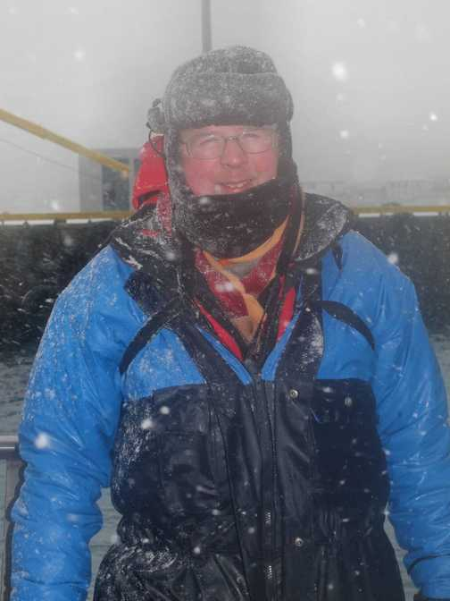 Charles in a snowstorm