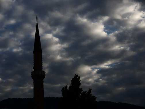 Sarajevo skyline at dusk.