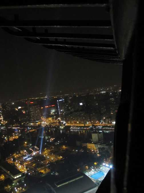 View of Egypt Film Festival from Cairo Tower at night