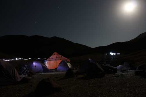our camp in the moonlight