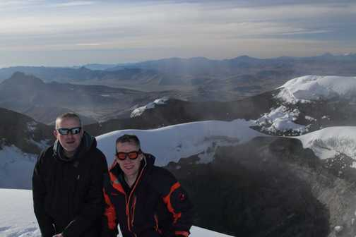 On summit with crater behind