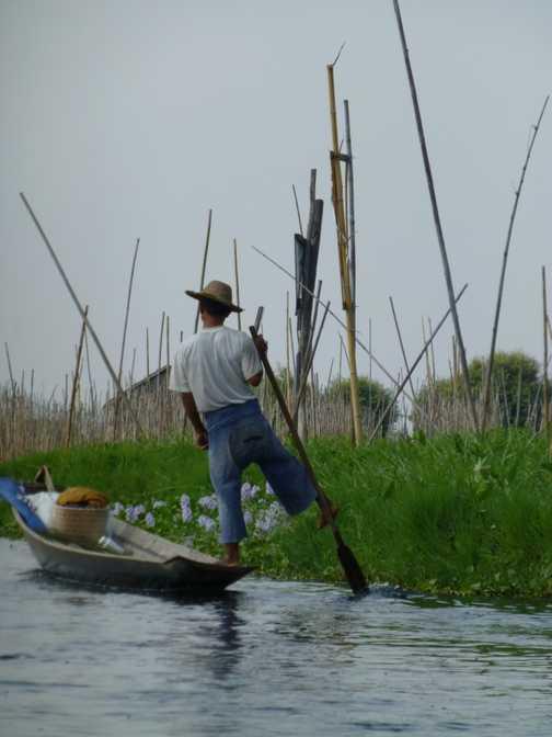 One-oared fishing boat, Inle Lake
