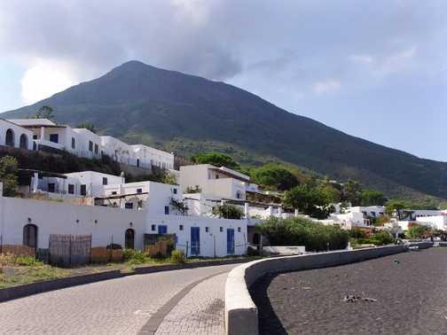 Stromboli volcano dominating the town