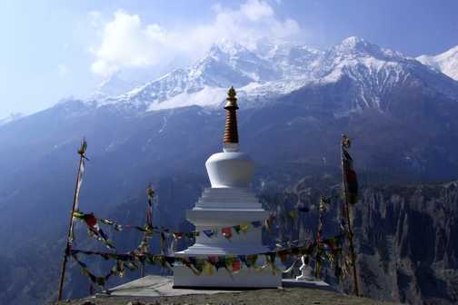 Stompa above Manang. Annapurna range in background