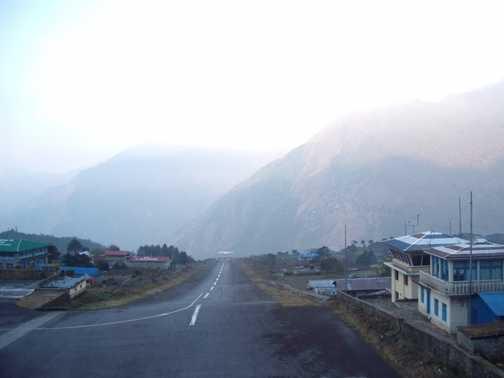 Runway of a mountain at lukla