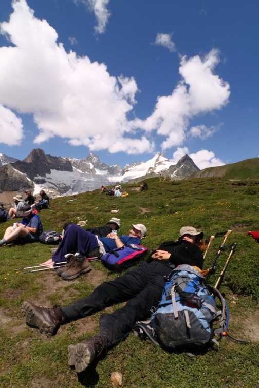 Tired walkers on Grand Col Ferret