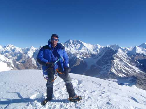 On top of Mera Peak with you know what in the background.
