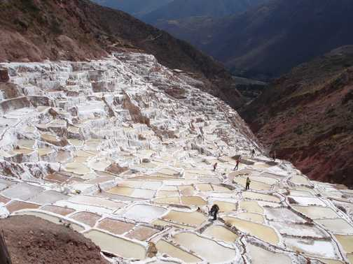 The Maras salt pans, filled by salty spring water.