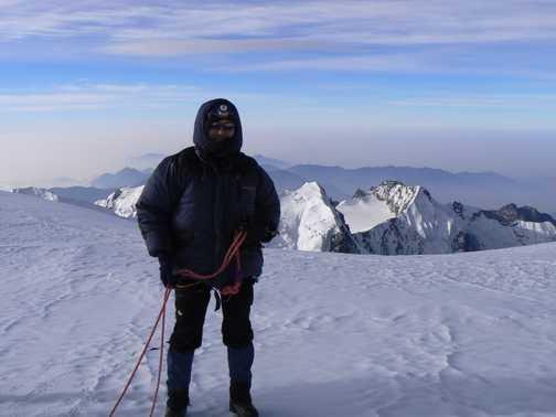 Ron on Mera Peak, a crevasse blocked the final metres to the summit proper