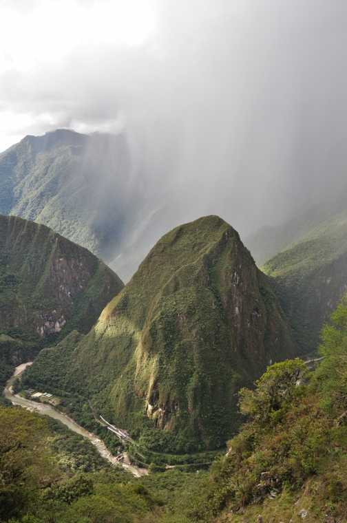 from the sungate walking down to machu picchu