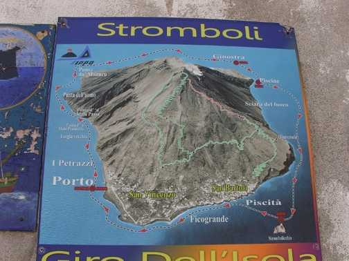 Stromboli map showing the route of our climb