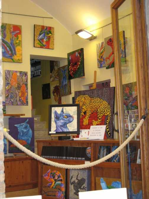 Cats'n'Frogs at the adjoining Gallery where we had Lunch, San Gimignano