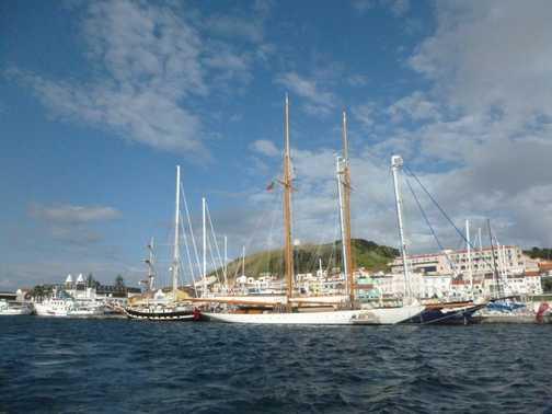 Sailing out of Horta Marina