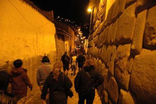 Inca walls at night