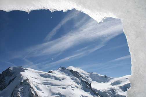 Ice tunnel on Aiguille Midi