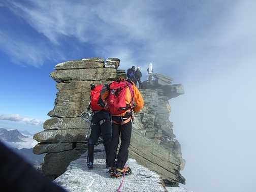 The final stretch to the summit of Gran Paradiso