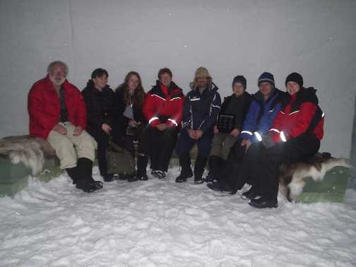 Most of the team in Absolut Ice Bar, Ice Hotel