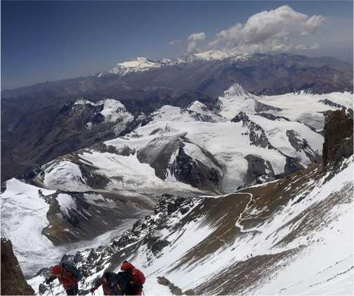 Climbers , just below summit