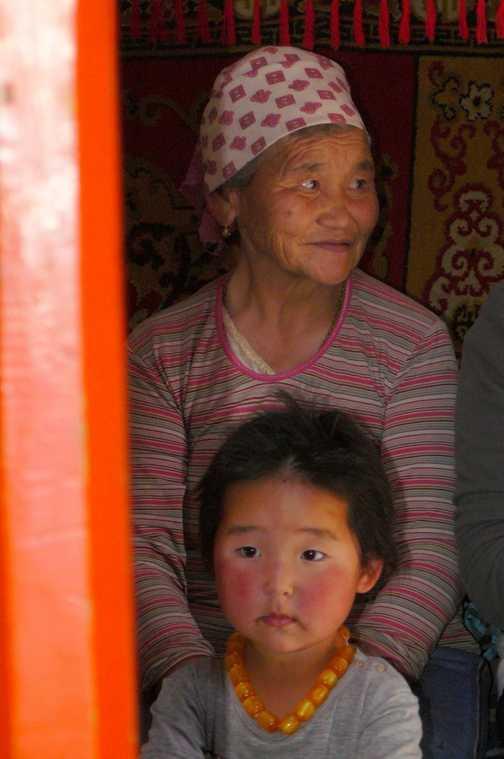 Inside ger;Grandmother and granddaughter
