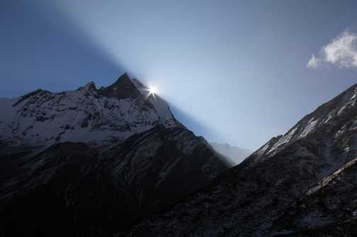 The moment of sunrise above Machhupuchhare - from the path up to ABC