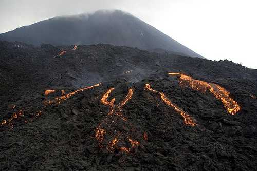Lava field and volcano