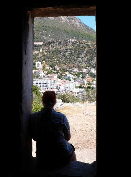 Looking out from a tomb towards Kas town