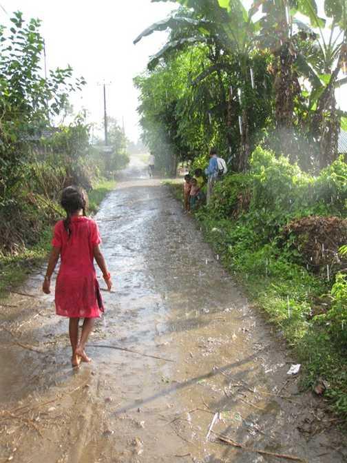 Sudden Rain, Village near Sauraha