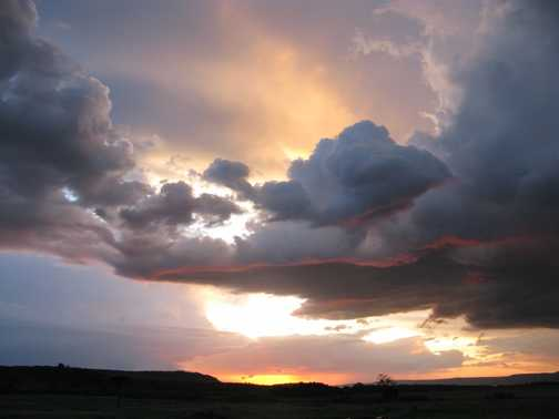 A storm  gathering at sunset