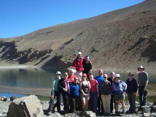 Group photo at the lake