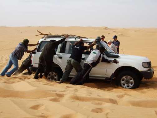 Khalief stuck in sand