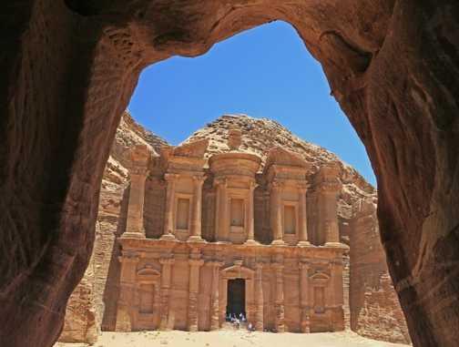 The Monastery, Petra, through cave window