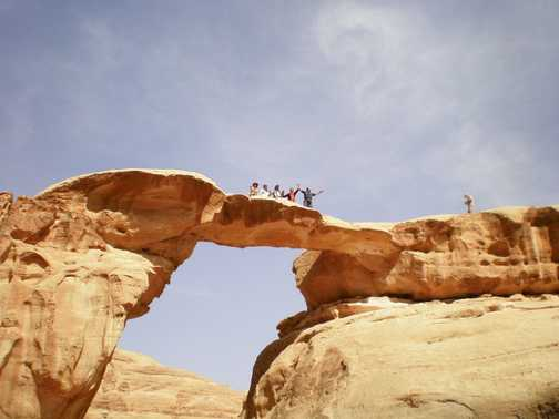 A weathered arch in Wadi Rum