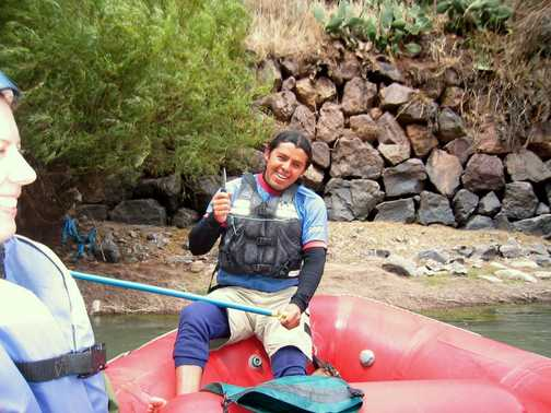 No arguing with the guide - on the Urubamba river (tonnes of fun!)
