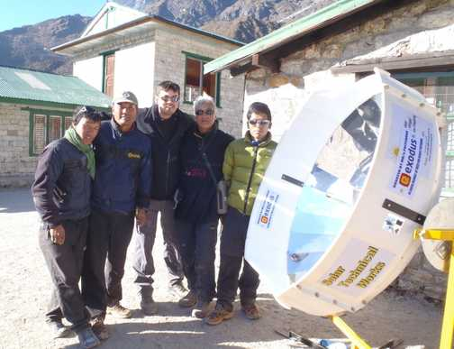 One of the three Solar Cookers we installed on the trek, this one is at Khumjung School