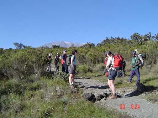 Still on the trail Kili with in front of us