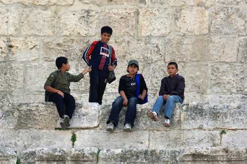 Local kids at the Roman theatre, Amman