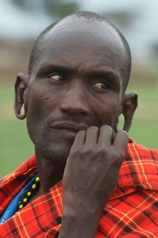 Portrait of Masai warrior taken on visit to their village.