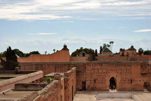 Marrakech - view across to the mountains from El Badi Palace